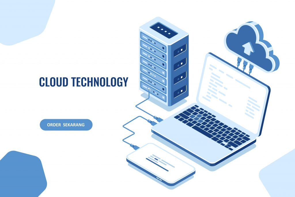 The scheme of data transmission, isometric secure connection, cloud computing, server room, datacenter and database, laptop with mobile phone, vector blue white background